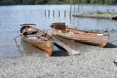 Rowing boats on Derwent Water - Keswick Launch