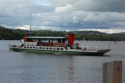 Ullswater Steamer on Ullswater Lake in the Lake District, UK