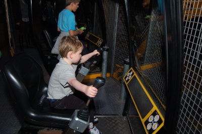 Controlling a JCB digger at Magna Science and Technology Center, Sheffield