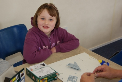 Making an Airfix model at the Midlands Air Museum