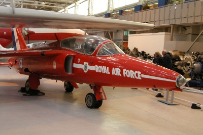 RAF Air Museum at Cosford - Red Arrow Gnat plane, indoor display
