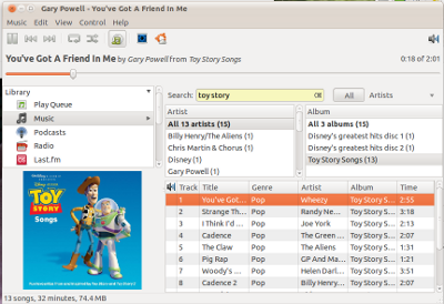 Rhythmbox Music Player on Ubuntu Linux