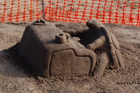 Sand sculpture - Turtle pianist at Scarborough