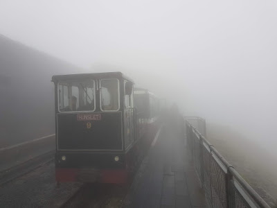 View from the top of Snowdon Mountain Railway - typical wet day