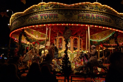Traditional English Carousel ride at London's Southbank Christmas Market