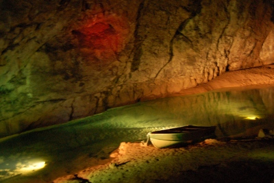 River inside one of the caves at Wookey Hole